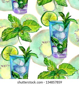 Drinks pattern on food background. watercolor.