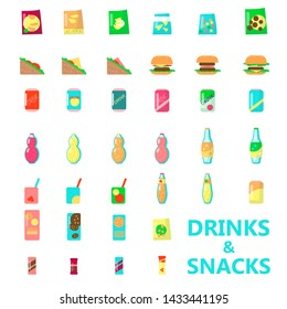 Drinks and snacks, vending machine product icon set. flat isolated illustration. Fast food, chips, nuts, cracker,cookies, juice, cola, soda etc. Snack food and cold beverages in packaging.