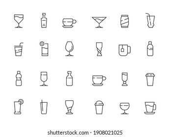 Drinks symbols. Cups and glasses of hot and cold drinks soda water coffee tea alcohol icons collection