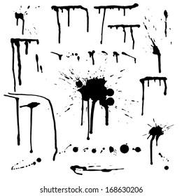 Drip splatter paint; grunge template with black paint ink splashes.