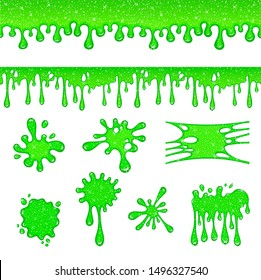 Dripping slime. Green dirt splat, goo dripping splodges of slime. Mucus isolated set Illustration of splatter and dribble, spots and drops, slime and blob.