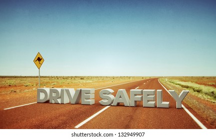 drive safely sign in a desert road