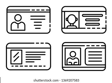 Driver license icons set. Outline set of driver license icons for web design isolated on white background