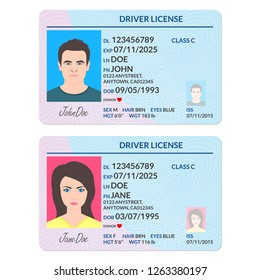 Driver license or ID card with man and woman photo. Identification  document template.