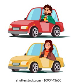 Driver People. Man, Woman Sitting In Modern Automobile. Buy A New Car. Driving School Concept. Happy Female, Male Motorist. Isolated Cartoon Character Illustration
