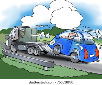 The driver of the small car saves fuel
