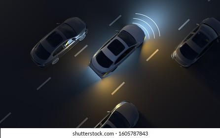 Driverless Autonomous Vehicle On Road 3D Illustration