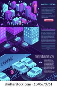 Driverless car banner set. Isometric set of driverless car banner for web design
