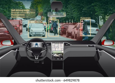 Driverless electric car without driver on a city street. Autonomous self driving mode. Head-up display.