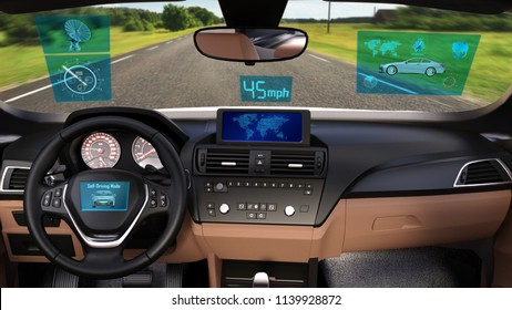 Driverless vehicle, autonomous sedan car with infographic data driving on the road, inside view, 3D rendering