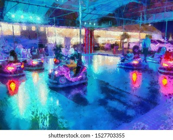 Driving car park in the amusement park Illustrations creates an impressionist style of painting.