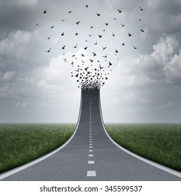 Driving freedom concept as a road or highway going up and transforming into flying birds as a business metaphor for success or life motivation as a path to liberty or heaven.