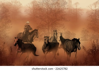 DRIVING THE HERD - A cowboy brings a herd of horses back to the ranch.