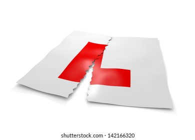 Driving L plates having been ripped in two