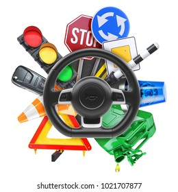 Driving school logo isolated on white background 3d