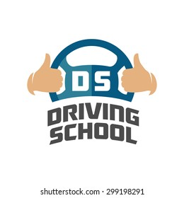 Driving school logo template. Steering wheel with thumbs up hands.