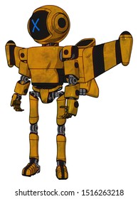Droid containing elements: digital display head, x face, light chest exoshielding, prototype exoplate chest, stellar jet wing rocket pack, ultralight foot exosuit. Material: Worn construction yellow.