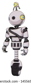 Droid containing elements: oval wide head, minibot ornament, light chest exoshielding, rubber chain sash, unicycle wheel. Material: White halftone toon. Situation: Standing looking right restful pose.