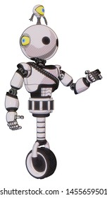 Droid containing elements: oval wide head, minibot ornament, light chest exoshielding, rubber chain sash, unicycle wheel. Material: White halftone toon. Situation: Interacting.