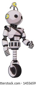 Droid containing elements: oval wide head, minibot ornament, light chest exoshielding, rubber chain sash, unicycle wheel. Material: White halftone toon. Situation: Facing left view.