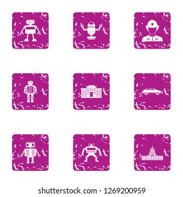 Droid icons set. Grunge set of 9 droid icons for web isolated on white background