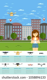Drone aircraft website template with girl operating flying robot in park illustration. Remotely controlled multicopter. Unmanned aerial vehicle. Drone aircraft set. Modern flying device.