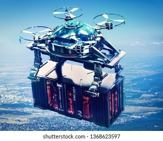 Drone cargo with sci-fi container freight above city futuristic depot. Solving logistical urban problems air vehicle in future. Birds eye view. 3d rendering.