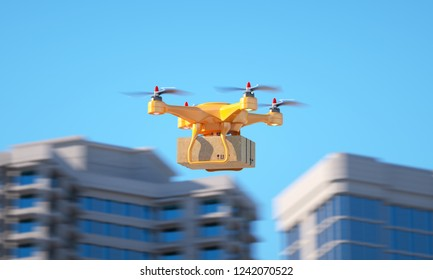 Drone carrying a parcell. 3d illustration