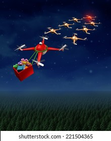 Drone christmas sled concept as group of organized drones in a reindeer sleigh formation with a santa clause flying quadrocopter delivering gifts.