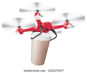 Drone coffee cup delivery. Realistic creative 3d illustration