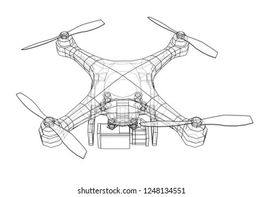 Drone concept. 3d illustration. Blueprint or Wire-frame style