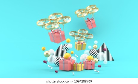 Drone delivers a gift box among colorful balls on a blue background.-3d render.