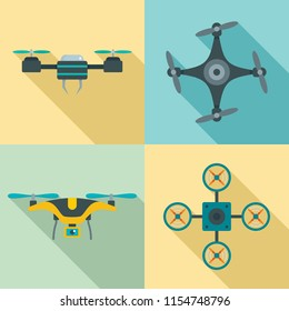 Drone delivery camera quadcopter icons set. Flat illustration of 4 drone delivery camera quadcopter icons for web