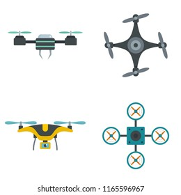 Drone delivery camera quadcopter icons set. Flat illustration of 4 drone delivery camera quadcopter icons isolated on white