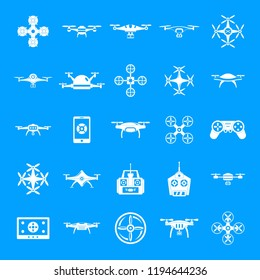 Drone delivery camera quadcopter icons set. Simple illustration of 25 drone delivery camera quadcopter icons for web