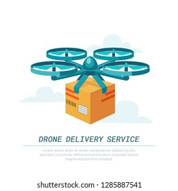 Drone delivery service. Remote air drone with parcel. Modern delivery of the package by flying quadcopter. Flat style concept. illustration