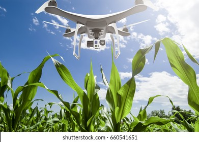 Drone with digital camera flying over cultivated field: 3D rendering