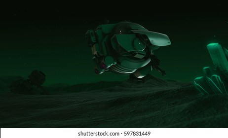 Drone explores the earth. Night sky.   3d render