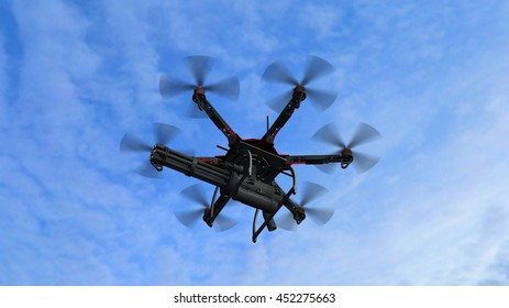 Drone Hexacopter armed with minigun - 3d rendering