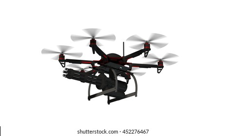 Drone Hexacopter armed with minigun isolated on white - 3d rendering