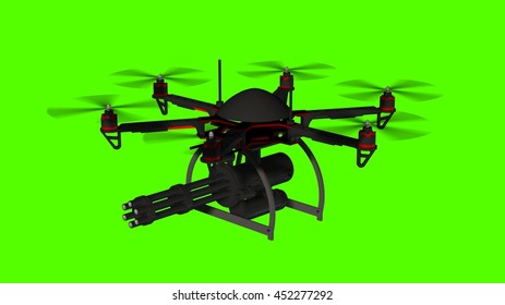 Drone Hexacopter armed with minigun isolated on green screen  - 3d rendering