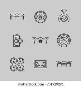 Drone icons set. Innovative and high-tech machines.