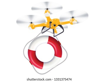 Drone lifebuoy delivery. Realistic creative 3d illustration