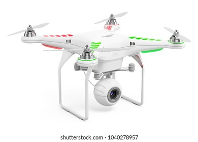 Drone quadcopter with 4k video camera isolated on white background. 3d render