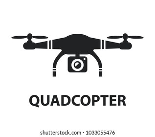 Drone quadcopter camera black icon isolated graphic design illustration isolated on white background
