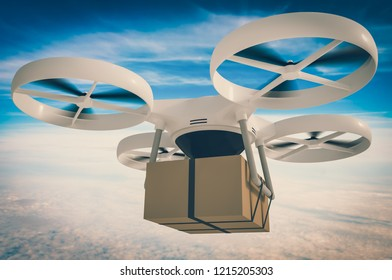 Drone, quadcopter is delivering package. 3D rendered illustration. Retro style.