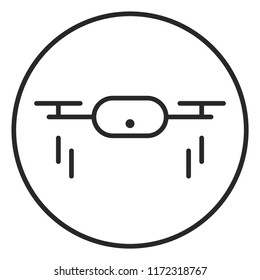 Drone quadrocopter with action camera logo illustration.