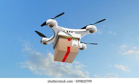 Drone Quadrocopter delivers a package - autonomous drone delivery - 3d rendering