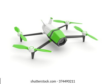Drone quadrocopter with photo camera on white background