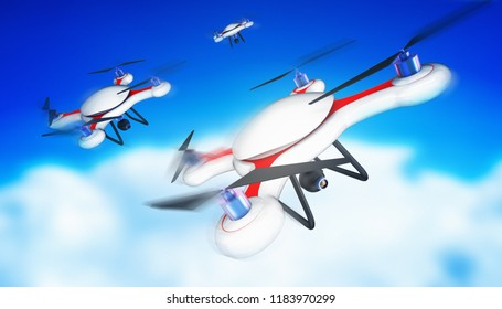 drone race on the sky 3d rendering illustration